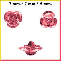 Набор Пайетки Розы Мелкие Объемные Розовые 20 штук Диаметр 7 мм для Рукоделия