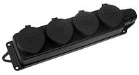 Розетка наруж. уст-ки 4-ая с заглушками 2Р+РЕ 1х16А 220-240V (каучук) Lezard