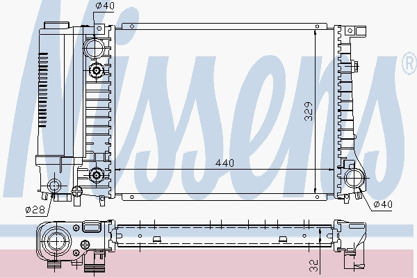 ⭐⭐⭐⭐⭐ Радиатор охлождения БМВ 5 Series [E34] (1988->) (производство  Nissens)  60703A