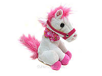 Розовая музыкальная лошадка 1306. Танцующая лошадка, мягкая, лошадка для малышки!