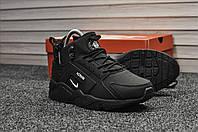 Кроссовки зимние Nike Huarache мужские черные, в стиле Найк Хуарачи. Нубук мех 100% код TD-8916