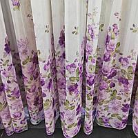 Тюль лен с рисунком сиреневые цветы
