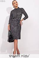 Деловое трикотажное платье на пуговицах до талии с 42 по 46 размер