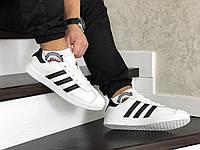 Кроссовки Adidas Gazelle мужские белые, в стиле Адидас Газель, кожа 100% прошиты, код SD-8487