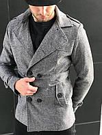 Мужское классическое пальто шерстяное весеннее серое (реплика)