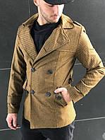 Мужское классическое пальто шерстяное осень коричневое (реплика)