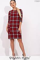 Повседневное короткое платье в клетку с накладными карманами с 42 по 46 размер, фото 1