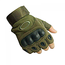 Перчатки без пальцев тактические Oakley (р.XL), оливковые, фото 3