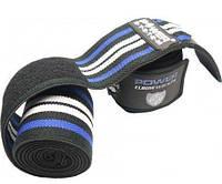Спортивные бинты на колени эластичные для приседаний 2 м Power System Knee Wraps PS-3700 Blue/Black