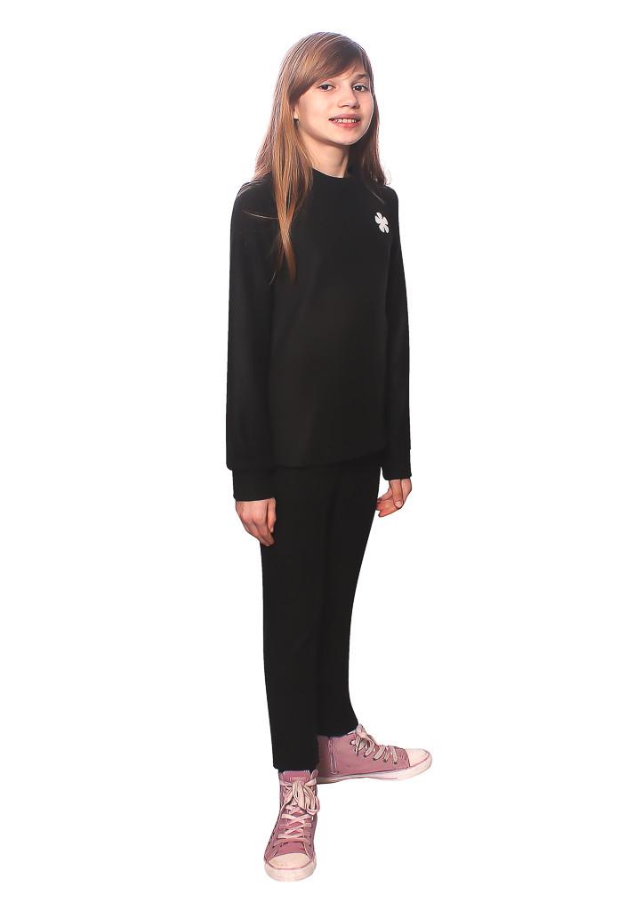 Черное детское флисовое термобелье с вырезом