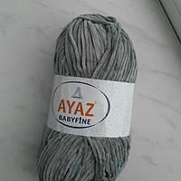 Плюшевая тонкая пряжа цвет серый AYAZ  baby fine №1130