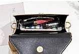 Женская классическая сумочка кроссбоди на широком ремешке коричневая рижая, фото 5