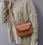 Женская классическая сумочка кроссбоди на широком ремешке коричневая рижая, фото 4