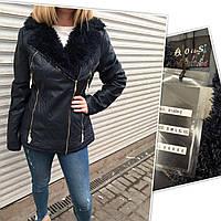 Куртка женская из экокожи, на меху внутри, с меховым воротником OS