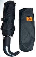 Мужской черный зонт Regen Автомат с прорезиненной ручкой крючком, на 10 спиц
