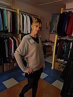 Элегантный пуловер цвета беж с  бантом из жемчуга    O de Mai