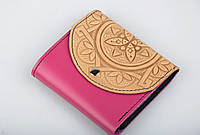 Кожаный кошлек женский, компактый кошелек ручной работы из натуральной кожи, розово-бежевый, фото 1