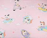"""Лоскут сатина """"Собачка в транспорте"""" на розовом № 2196с, размер 63*70 см, фото 4"""