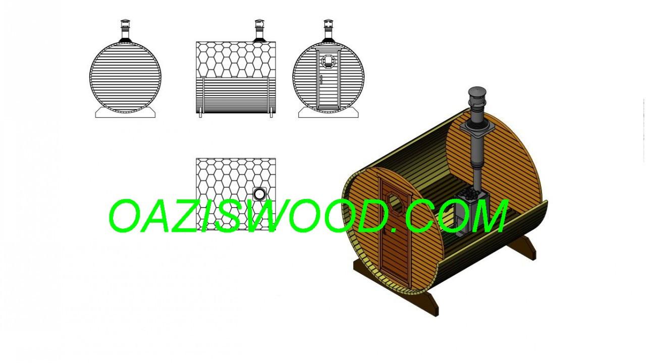 Баня в бочке 2,2м с кровлей и дровяной печкой