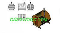 Баня в бочке 2,2м с кровлей и дровяной печкой, фото 1