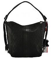Женская черная кожаная сумка мешочек питон