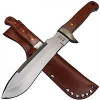 Нож парашютиста MFH с деревянной рукояткой в кожаных ножнах