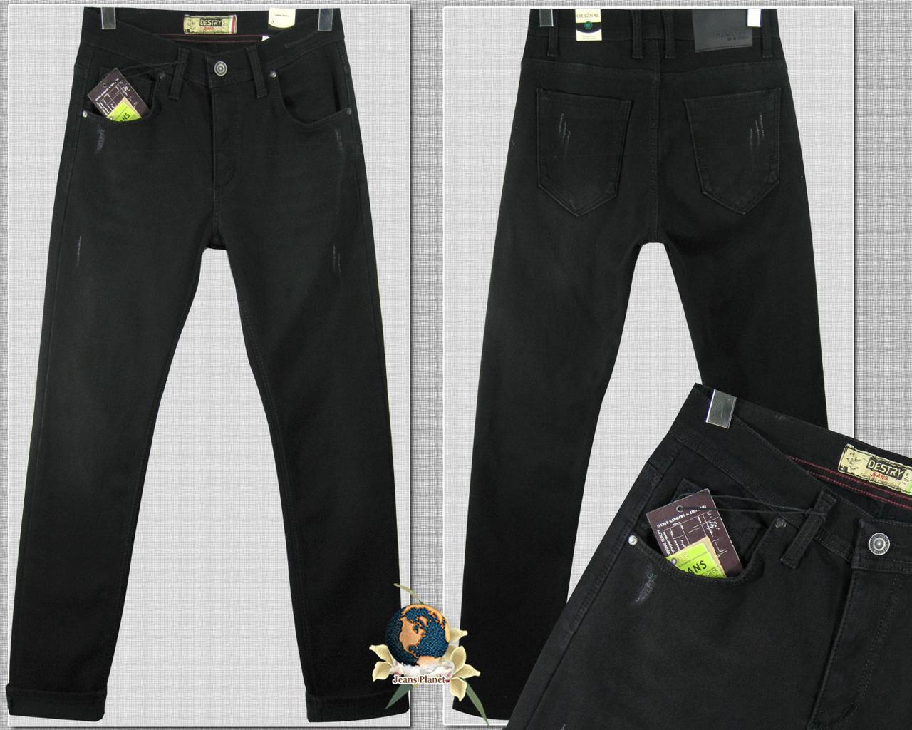 Джинсы мужские утеплённые зауженные Distry чёрного цвета баталы