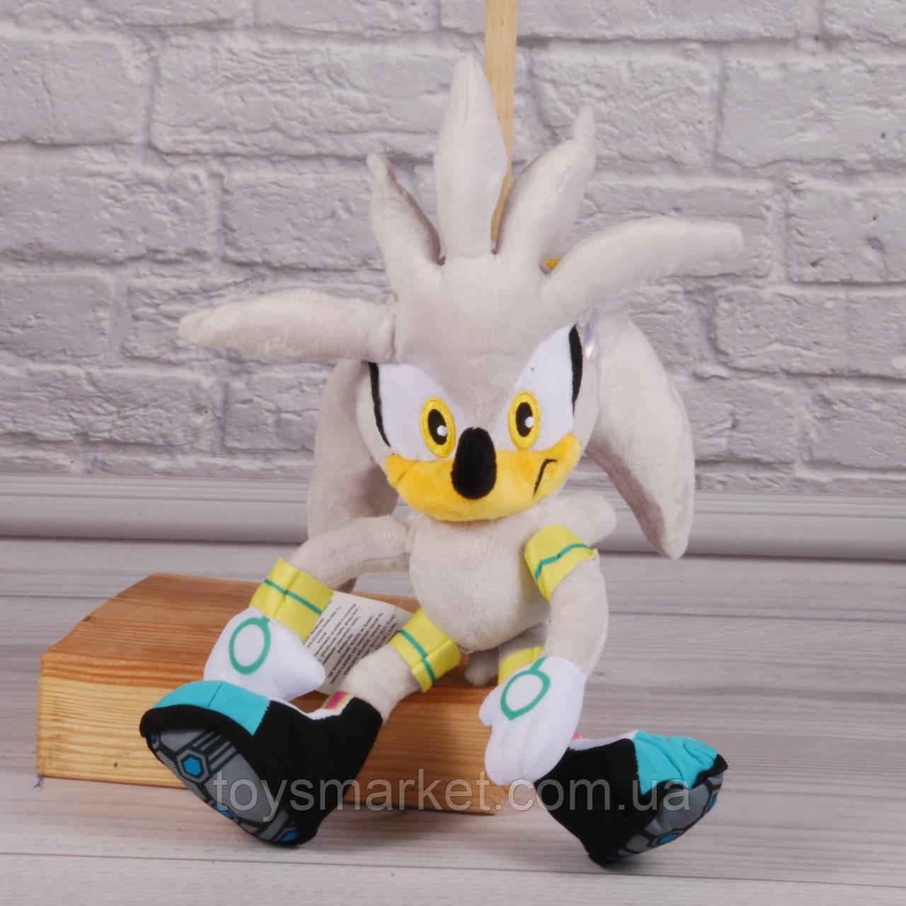 Мягкая игрушка Ёж Сильвер,  Silver the Hedgehog, серый еж из игры «Sonic the Hedgehog»