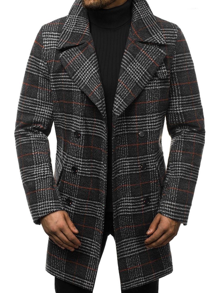 Мужское пальто (весна\осень) - длинное, в клеточку, серое-черное