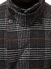 Мужское пальто (весна\осень) - длинное, в клеточку, серое-черное, фото 2