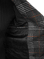 Мужское пальто (весна\осень) - длинное, в клеточку, серое-черное, фото 3
