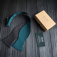 Галстук-бабочка I&M Craft самовяз темно-зеленый с черным (010110)