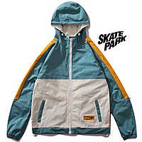 Мужская Куртка-ветровка (весна\осень) в стиле Skate Park синяя-желтая (унисекс)