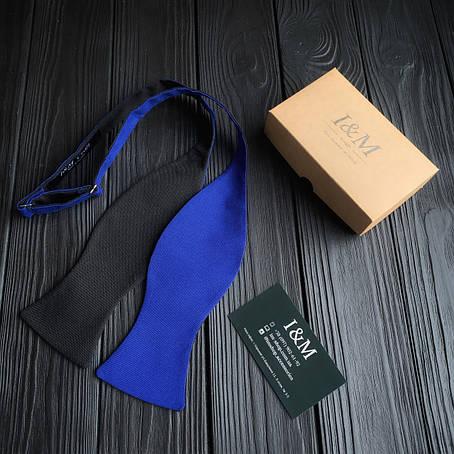 Краватка-метелик I&M Craft самовяз чорний з синім електрик (010113), фото 2