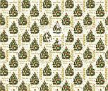 """Ткань новогодняя с глиттерным рисунком """"Праздничная ёлка"""" на кремовом, №2482, фото 8"""