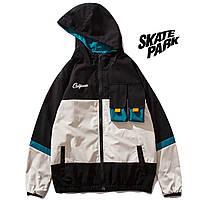 Мужская Куртка-ветровка (весна\осень) в стиле Skate Park черная-белая (унисекс)