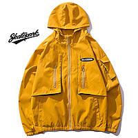 Мужская Куртка-ветровка (весна\осень) в стиле Skate Park желтая (унисекс)
