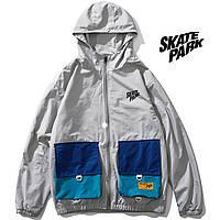 Мужская Куртка-ветровка (весна\осень) в стиле Skate Park серая (унисекс)