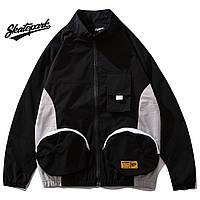 Мужская Куртка-ветровка (весна\осень) в стиле Skate Park черная-серая (унисекс)