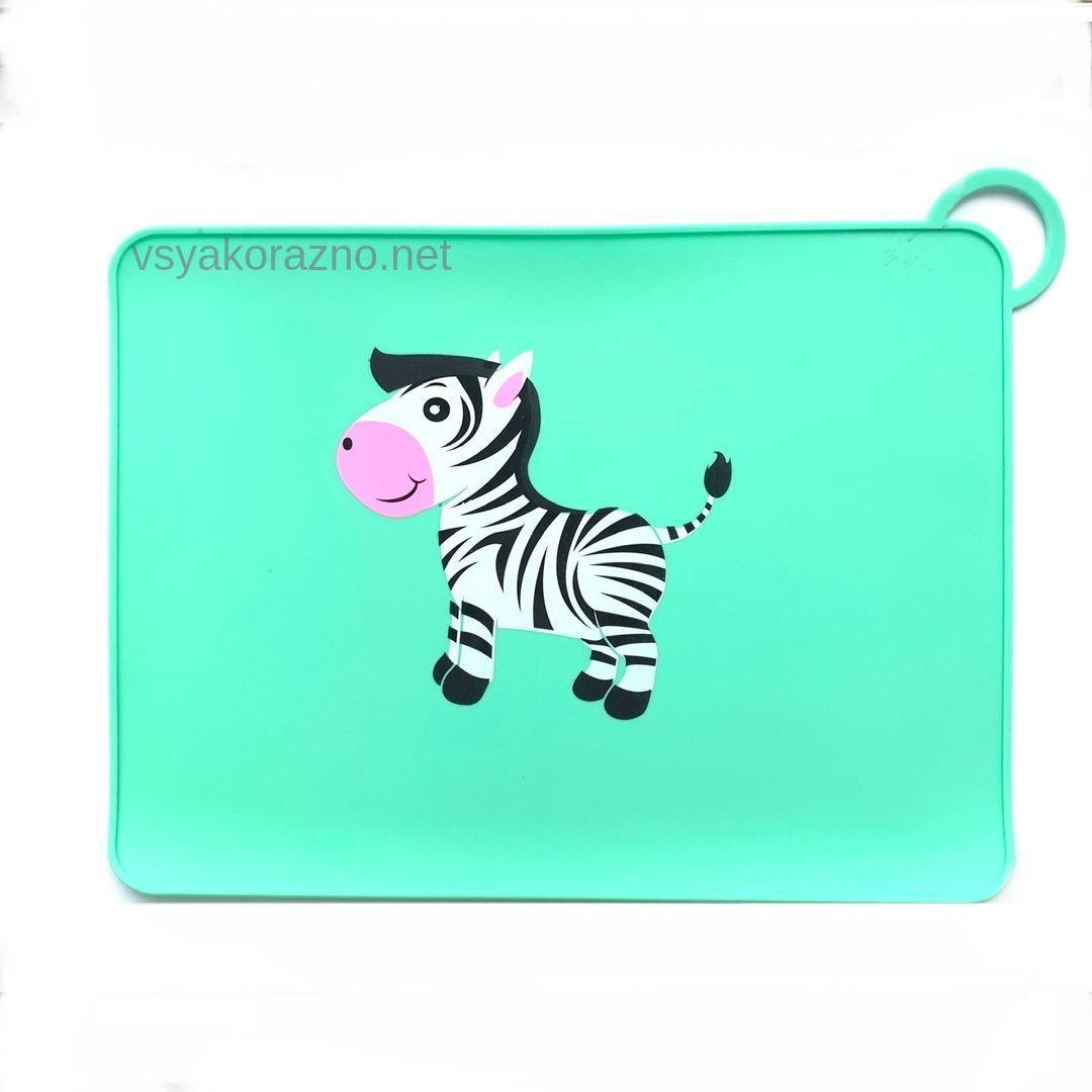 Детский сервировочный коврик зебра (зеленый)