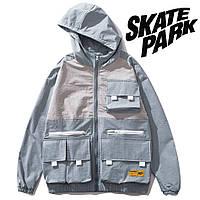 Мужская Куртка-ветровка (весна\осень) в стиле Skate Park голубая-белая (унисекс)