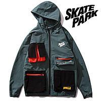 Мужская Куртка-ветровка (весна\осень) в стиле Skate Park синяя (унисекс)