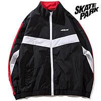 Мужская Куртка-ветровка (весна\осень) в стиле Skate Park черная-красные линии (унисекс)