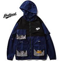 Мужская Куртка-ветровка (весна\осень) в стиле Skate Park черная-синяя (унисекс)