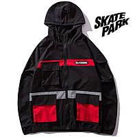 Мужская Куртка-ветровка (весна\осень) в стиле Skate Park черная-красная (унисекс)
