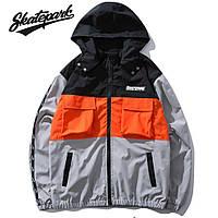 Мужская Куртка-ветровка (весна\осень) в стиле Skate Park черная-серая-оранж (унисекс)
