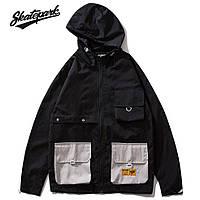 Мужская Куртка-ветровка (весна\осень) в стиле Skate Park черная (унисекс)