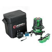 Уровень лазерный Проф. 5 лазерных головок, зеленый лазер, звуковая индикация. INTERTOOL MT-3008, фото 1