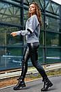 Молодёжная толстовка женская, р. от 42 до 52, трёхнитка на флисе серая, фото 5