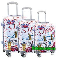 Набор пластиковых чемоданов на колесах (комплект из трех чемоданов) London white/red